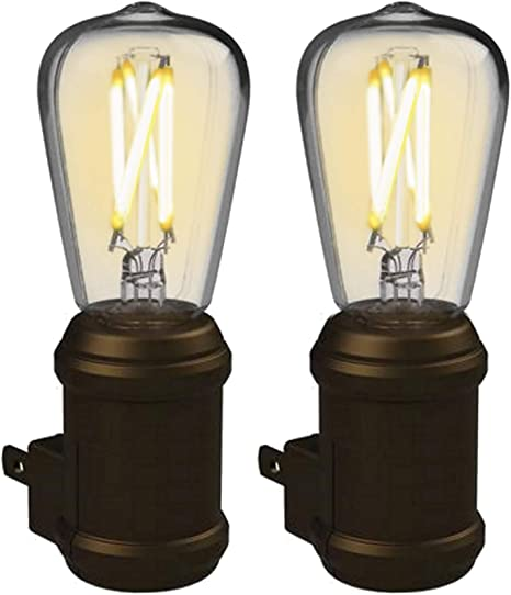Amazon Com Westek Vintage Night Light By Amertac 2 Pack Bronze Led Edison Night Light Plug In Decorative Night Light With A Stunning Old Fashioned Design Dusk To Dawn Nightlight Plastic Casing