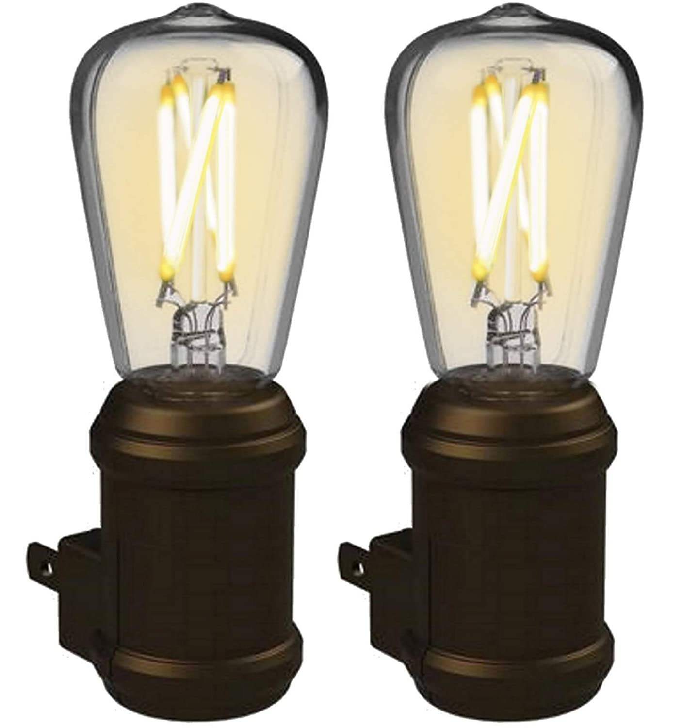 WESTEK Vintage Night Light by Amertac, 2 Pack - Bronze LED Edison Night Light - Plug-in Decorative Night Light with a Stunning Old-Fashioned Design - Dusk to Dawn Nightlight, Plastic Casing, 8 Lumens