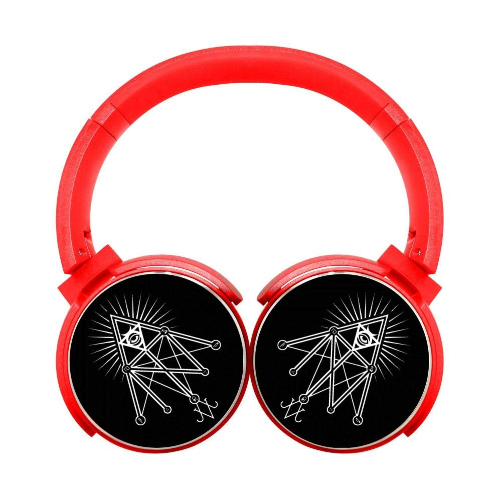 DNpni Illuminati Occult Geometric Wireless Headset Stereo Subwoofer On-Ear Bluetooth Headphone HiFi with Mic Red
