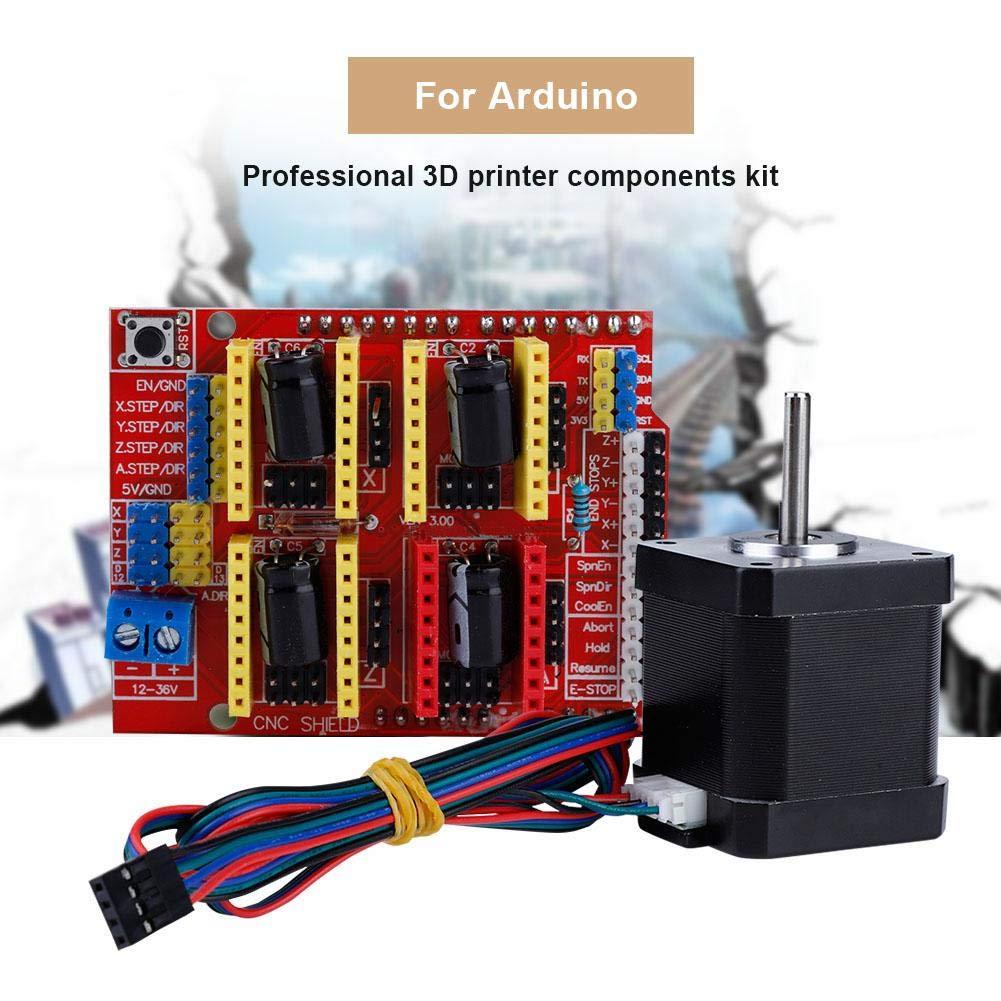 Tangxi Kit CNC Stampante 3D con CNC Shield V3.0+DRV8825 Driver Motore Passo-Passo+Uno R3 Board+Motore Passo-Passo Nema 17+Cavo USB,Kit CNC per Kuman R3 Arduino GRBL