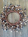 Black & Cream Mini Wreath Or Candle Ring Country Primitive Floral Décor Perfect Candle Ring For 4'' Pillars (Wreath is 8'')
