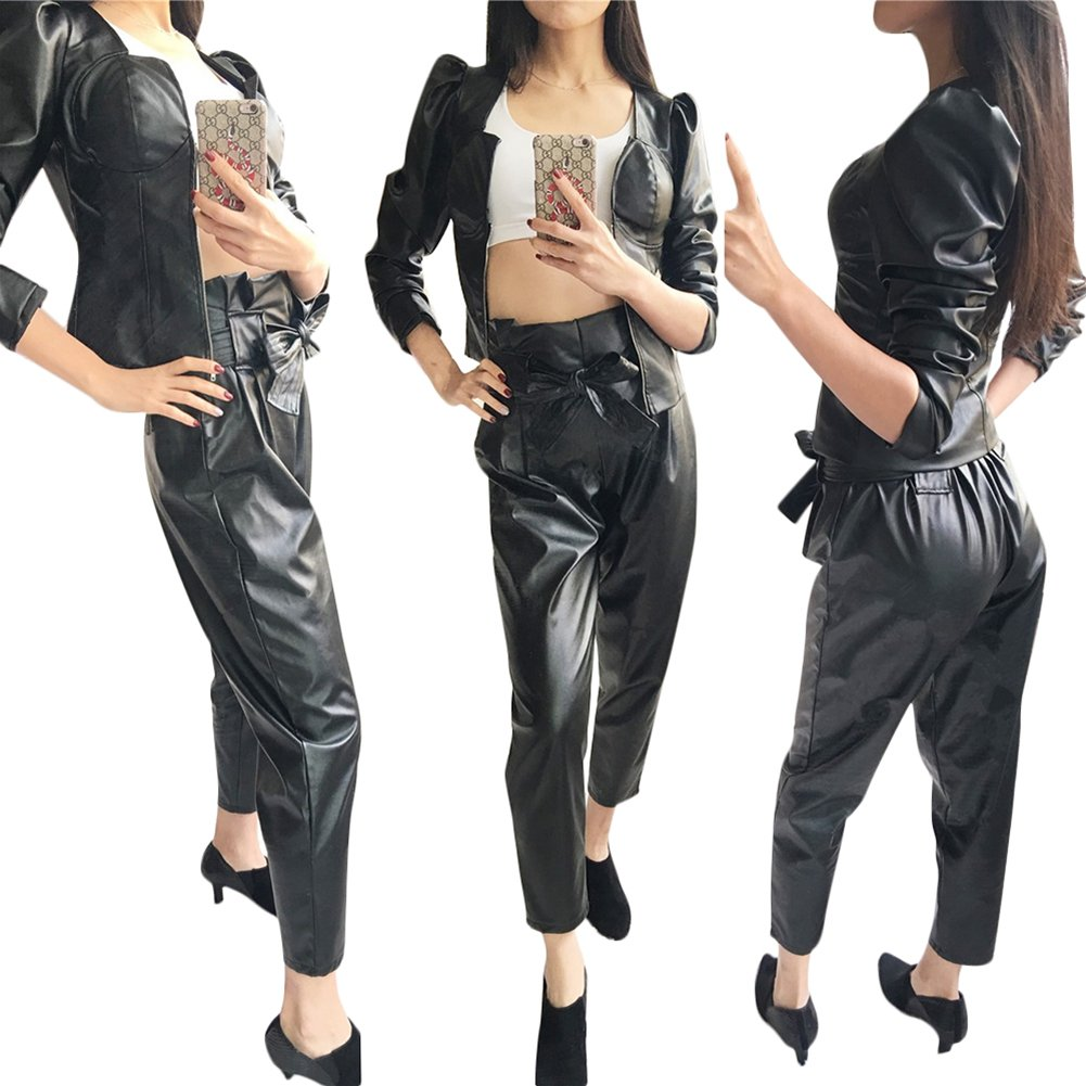 Fadvanes Womens Sexy Black PU Faux Leather Long Pants Trousers With Belt L by Fadvanes (Image #3)