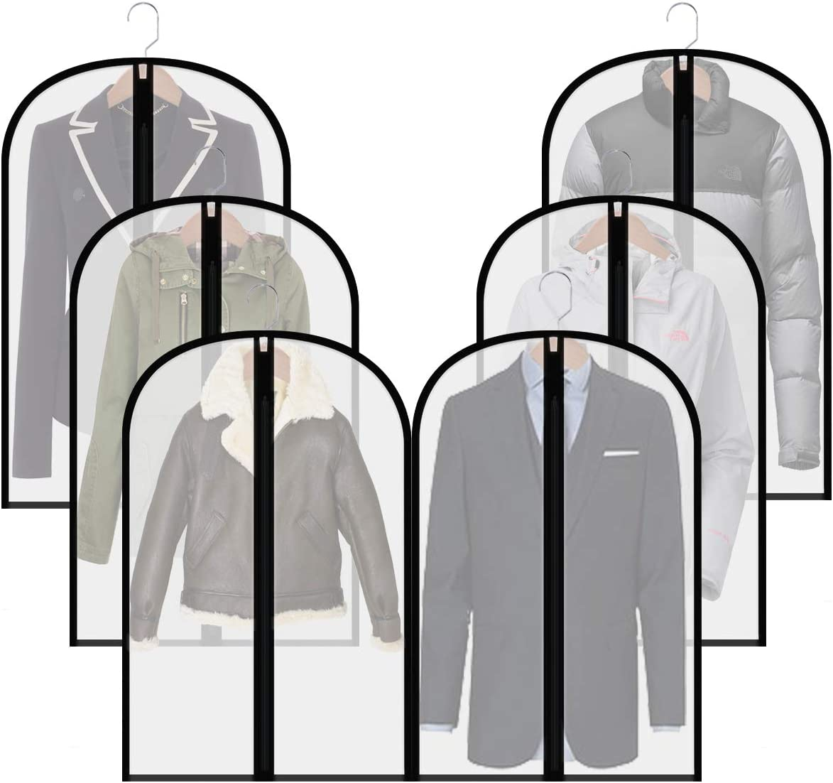 homeminda Moth Proof Garment Bags 40in Clear Suit Dust Cover Hanging Lightweight Breathable with Study Full Zipper for Storage Jacket and Travel Pack of 6