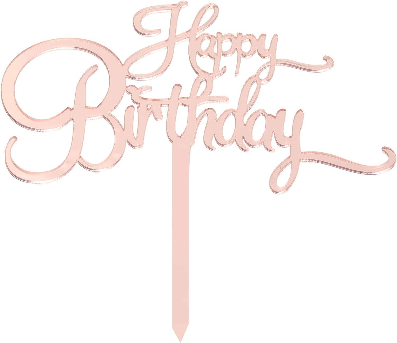 Happy Birthday Cake Topper Rose Gold Birthday Cake Decoration Creative Birthday Party Supplies