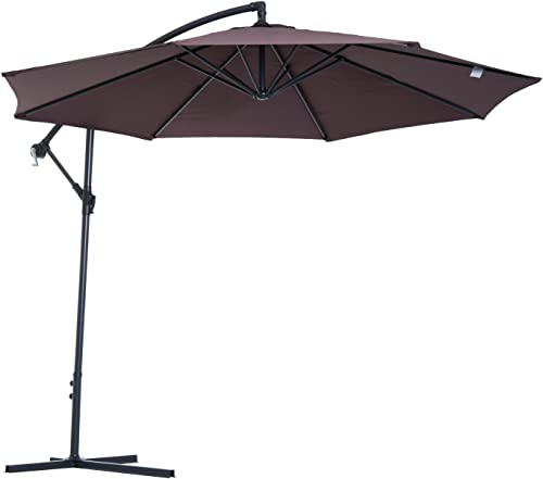 Outsunny 10 Steel Hanging Offset Patio Umbrella with Stand Brown