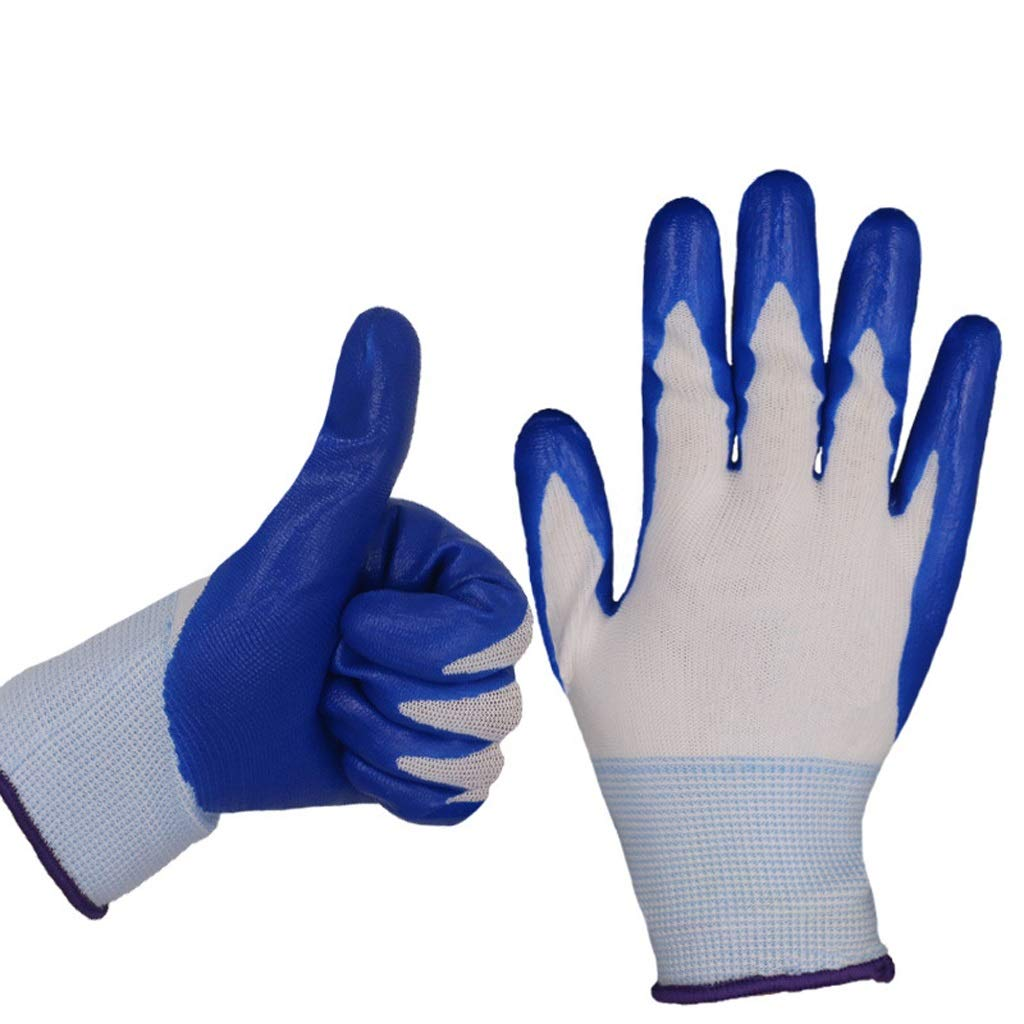 LZRZBH 12 Pairs PU Coated Work Gloves Multifunction,Construction and Gardening Women and Men Protective Gloves by (Size L,Black, Blue, PU) (Color : A)