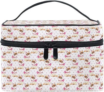Bolsa de maquillaje Lunares rosados Gato Bolsas de cosméticos de viaje Organizador Estuche de tren Artículos de tocador Bolsa de maquillaje: Amazon.es: Belleza