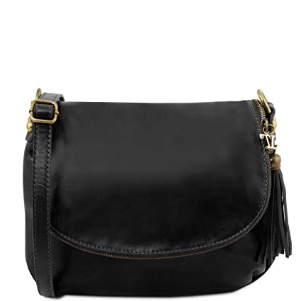 e961543cf02c Tuscany Leather TLBag Soft leather shoulder bag with tassel detail Black   Amazon.co.uk  Shoes   Bags
