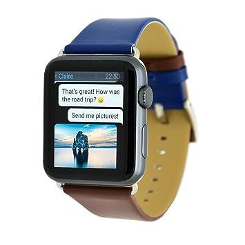 Correa de reloj para Apple Watch Series 3/2/1, Diadia de piel para Apple Watch 1/2/3 38 mm: Amazon.es: Belleza