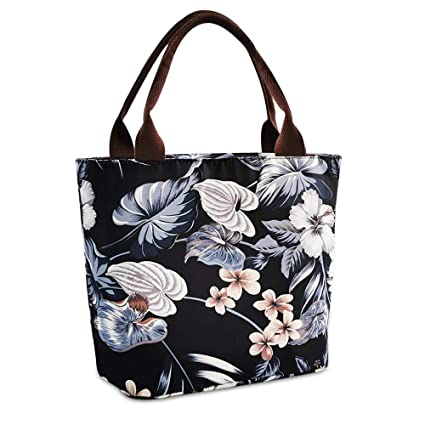 03d89893929e Floral Lunch Box Tote Bag for Women Reusable Picnic/School Lunch Bag Lunch  Container Cooler Bag (Black)