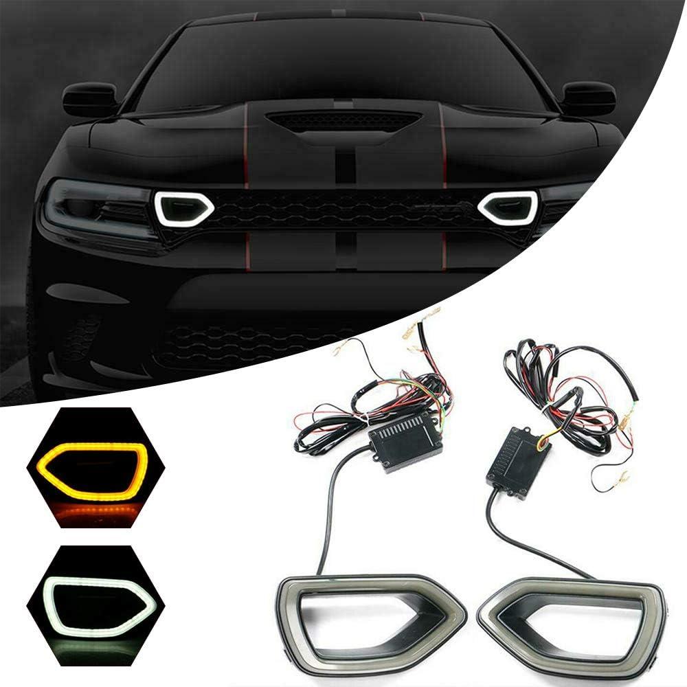 Smoke LED Grille Bezel Lights Compatible with 2015-2019 Dodge Charger SRT Scat Pack