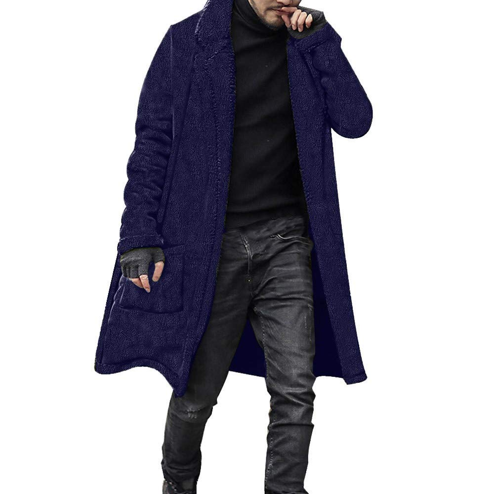 PASATO Fashion Men Loose Warm Plush Cardigan Long Furry Double-Sided Coat Tops Blouses Windbreaker