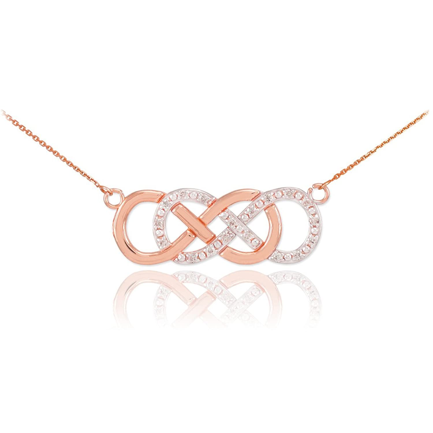 Double-Mounted 14k Rose Gold Diamond Double Infinity Necklace