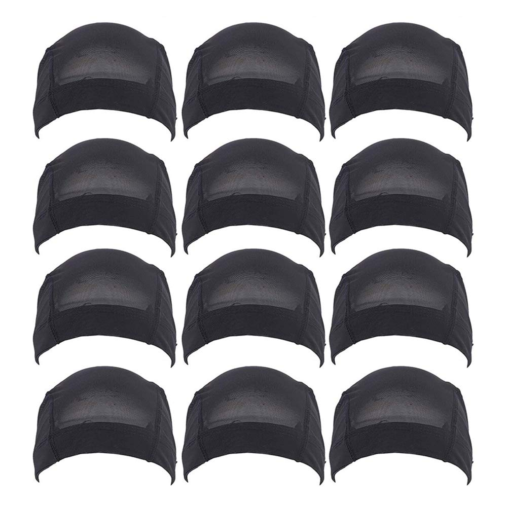 Fani 12 Pack Mesh Dome Wig Cap for Making Wigs Expandable Spandex Stretchable Hairnet Breathable Nylon Wig Cap Black Headwear for Women by fani