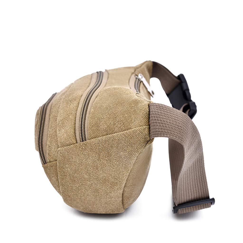 SUJING Men Women Letter Solid Color Waist Packs 3 Zipper Adjustable Belt Crossbody Bag Green