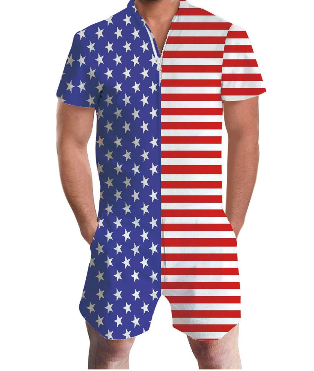 Idgreatim Men 3D Graphic American Flag Short Sleeve Printed One Piece Romper Jumpsuit XL