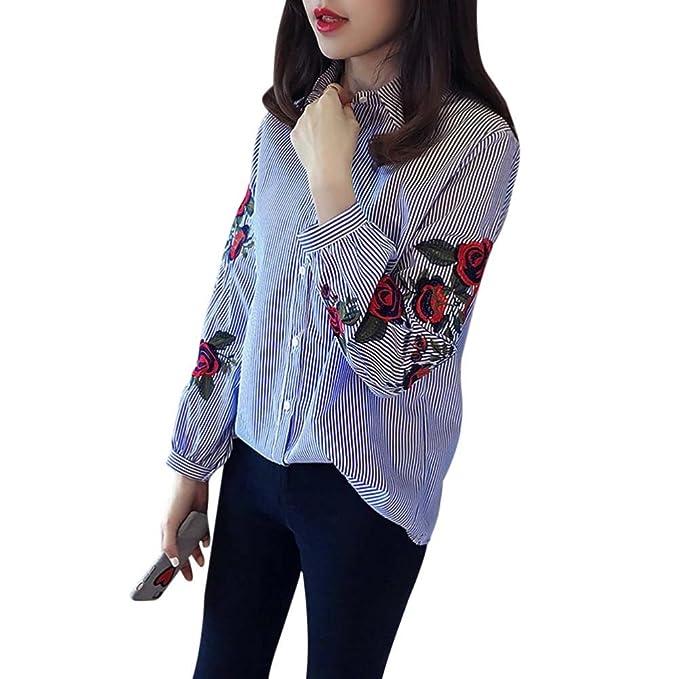 WINWINTOM Mujeres Chicas Camiseta De OtoñO Tops Casual Bordados Florales Blusa Suelta De Manga Larga (