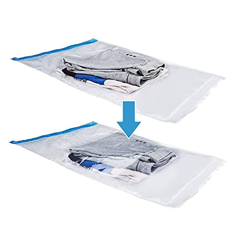1e11bb79a091 SINGARE Airtight Space Saver Bags Travel Storage Bags for Clothes, No  Vacuum or Air Pump Needed, Perfect Roll-Up Compression Bags for Travelling  or ...