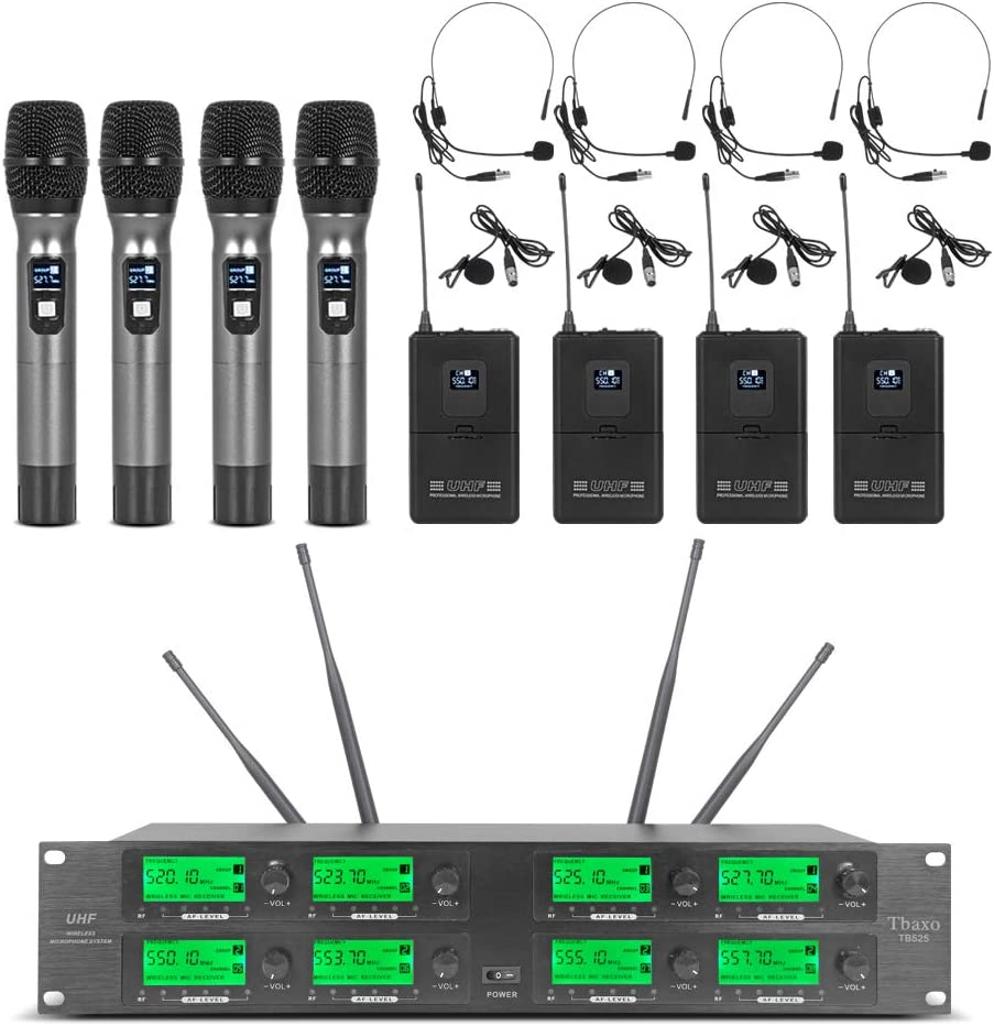 Frequency A Wireless Microphone System 8 Channel Microphone UHF 4 Handheld Mic 4 Headset 4 Lavalier Bodypack 4 Lapel Mic Pro Audio Karaoke System Church Speaking Conference Wedding Party: Home Audio & Theater
