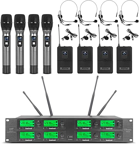 Vtop UHF-400-1 UHF 4 Channel Wireless Microphone System for Party//Wedding//Church//Conference//Speech