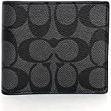 Coach 75083 Men's Signature Pvc Double Billfold Wallet Charcoal/black