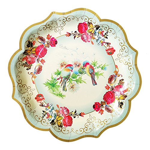 Set of 6 Disposable Dessert Paper Plates for Wedding Christmas Halloween Festival Party Decorations Supplies 12'' (Blue Bird)