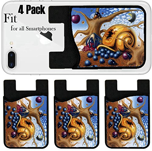 Liili Phone Card holder sleeve/wallet for iPhone Samsung Android and all smartphones with removable microfiber screen cleaner Silicone card Caddy(4 Pack) ID: 21694546 surreal painting done by me name