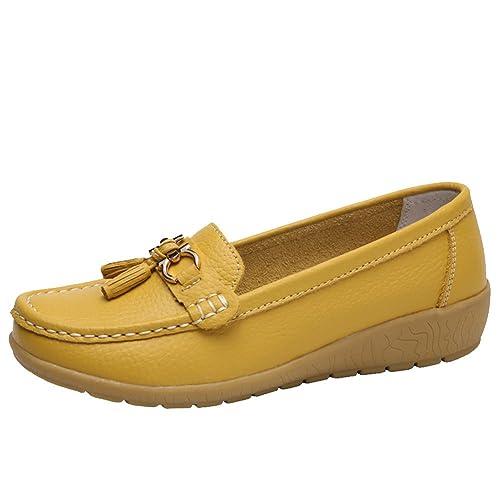 Mocasines Comodos para Mujer Loafers con Borlas en Cuero y con Agujeros: Amazon.es: Zapatos y complementos