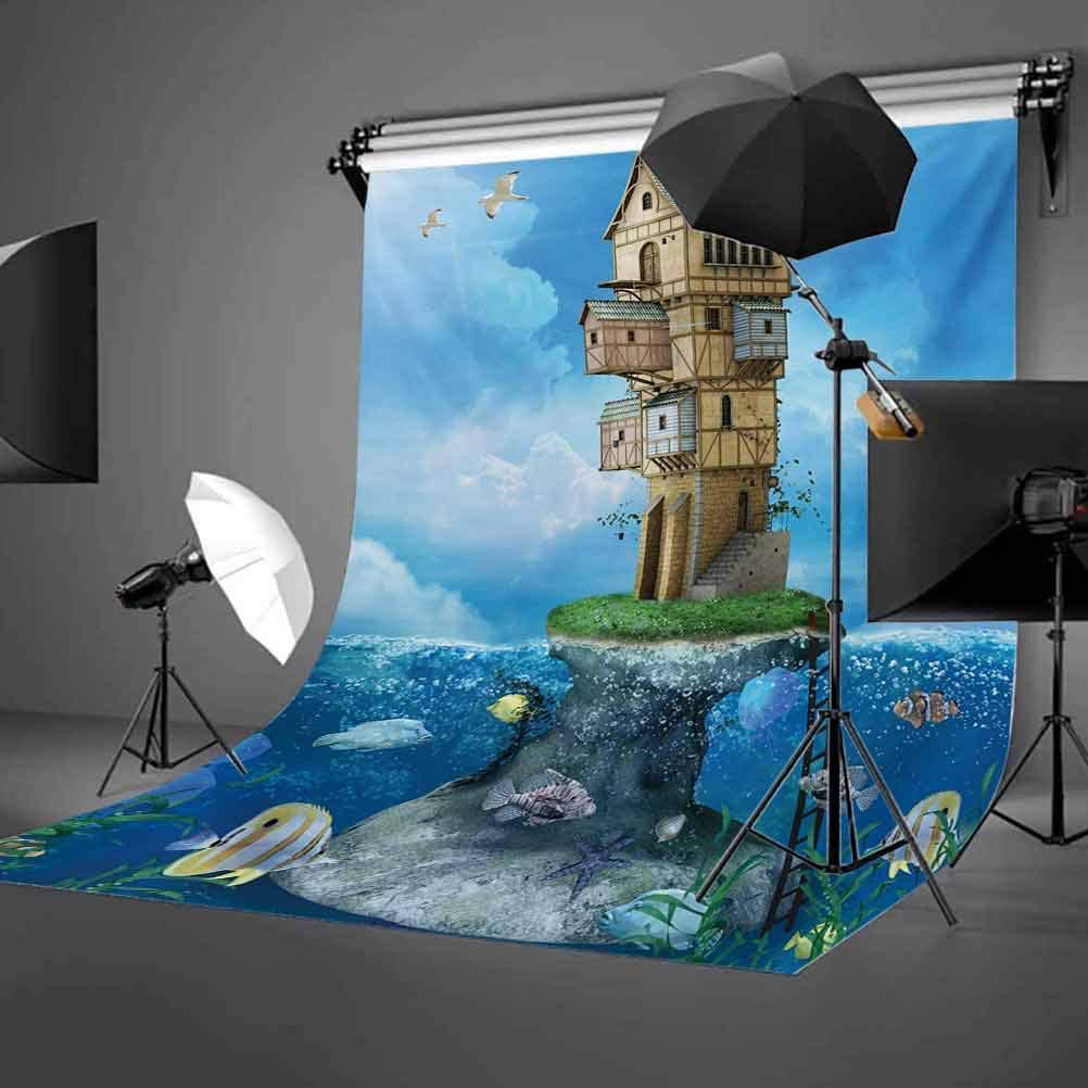10x12 FT Photography Backdrop Fantasy Fisherman House Fairytale Underwater Life Fishes Coral Cloudy Sky Background for Kid Baby Boy Girl Artistic Portrait Photo Shoot Studio Props Video Drape Vinyl