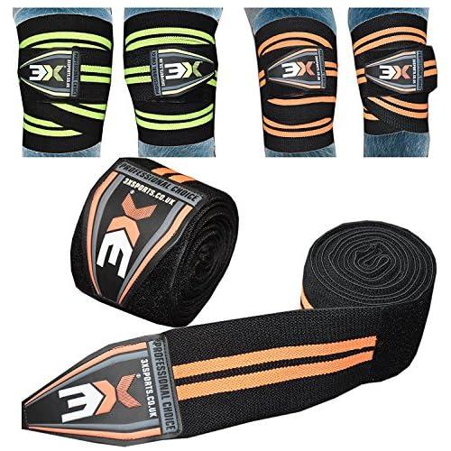 3X Sport Bandages pour genoux Poids Levée Gym Sangles de jambe d'haltérophilie Fitness