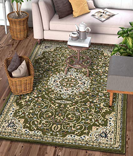 Traditional Rectangular Green - Well Woven Alexa Green Modern Medallion Area Rug Updated Traditional Persian Style 3x5 4x6 (3'11