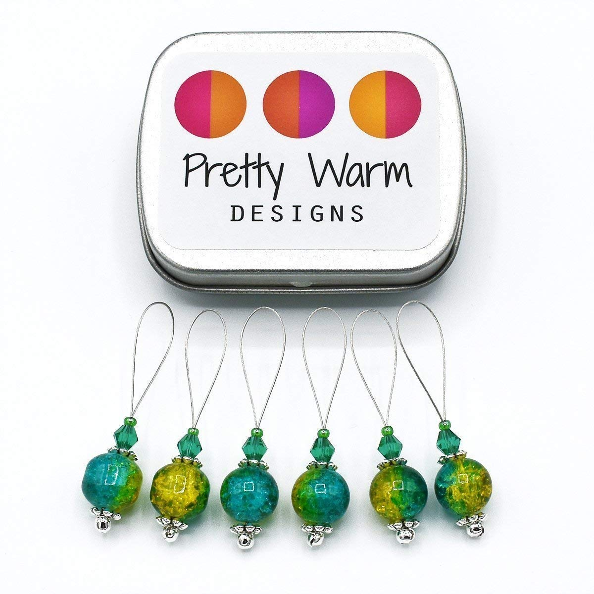 Teal and Yellow Snag Free Stitch Markers Jewelry for Knitting (Set of 6 with Tin)