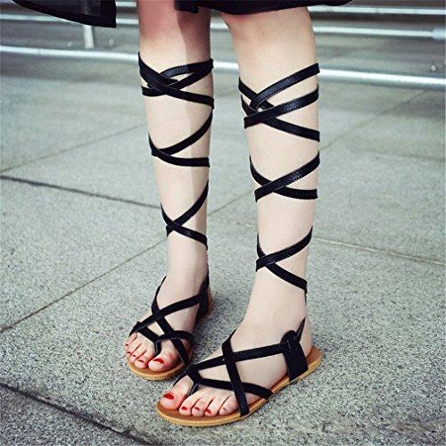 Chaussures Talons Chaussures Genou Black d'été Grand Sandales hautes plats Solide Couleur Lumino Femme Gladiateur Sandales Bottes Sexy Femmes qxvBwX0v1Z