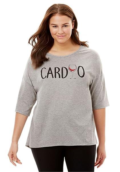 5167672d30e fullbeauty SPORT Women s Plus Size Scoop Neck Graphic Tee - Heather Grey  Cardio