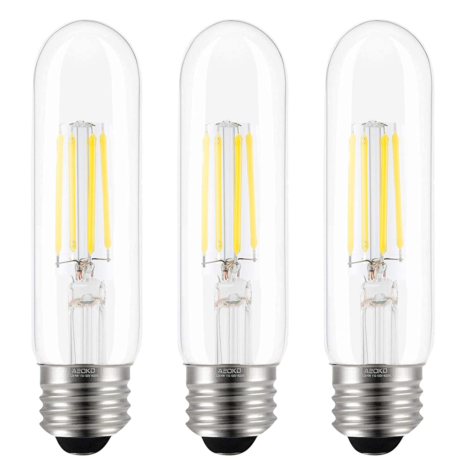 T10 LED Bulbs Daylight 4000K LED Tubular Edison Light Bulbs 4W Dimmable Tube Vintage Led Bulbs 40 Watt Equivalent,E26 Medium Base, LED Filament Retro Bulb for Desk Lamp, Pendant Lights(3-Pack)