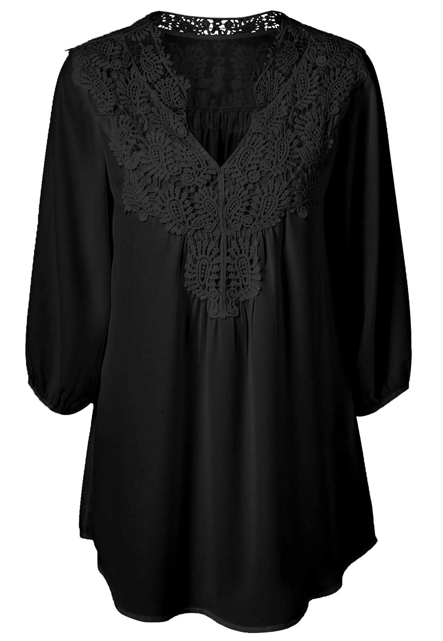OMZIN Women Casual Chiffon Lace Hollow Out V Neck 3/4 Sleeve Top Black XL