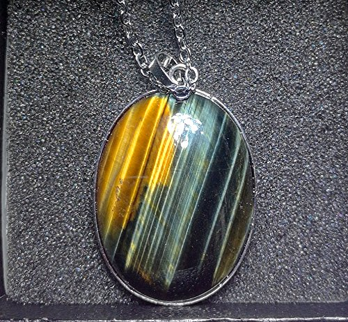1Pcs 2'' Beautiful Jewelry Hand Carved Gemstone Sliver Pendant With Silver Chain Necklace 52mm (Blue&Yellow tiger eye) Blue Tiger Eye Pendant