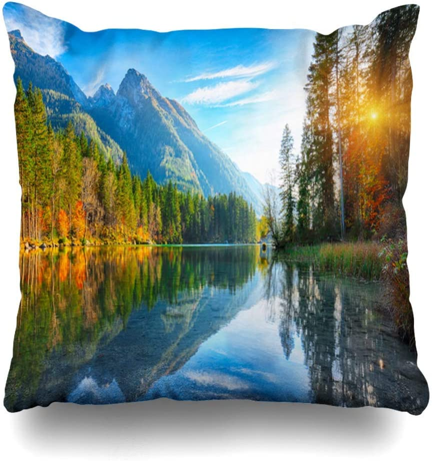 Amazon Com Ashasds Cloud Green Bavaria Autumn Sunset Hintersee Lake Bright Scene Parks Alpine Coniferous Dreamlike Throw Pillow Covers For Home Indoor Friendly Comfortable Cushion Standard Size 20x20 In Home Kitchen