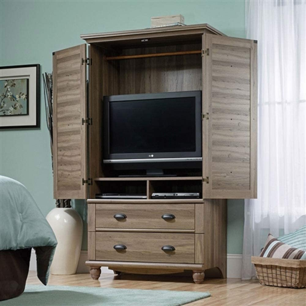 Amazon Com Wardrobe Cabinet Bedroom Storage Or Tv Armoire In Medium Brown Oak Finish Wardrobe Armoire Closet Storage Clothes Wood Cabinet Organizer Chooseandbuy Kitchen Dining