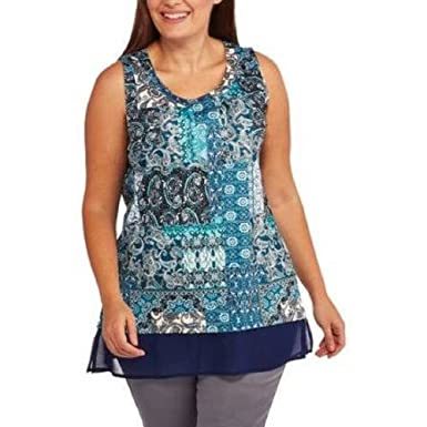 66997a7ec780c7 Faded Glory Womens Knit Tunic Top Plus Size 1X Blue Paisley Scoop ...