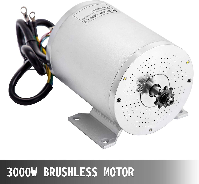 VEVOR Motore Elettrico Senza Spazzole 60V 3000W 4800Rpm per Go Kart Elettrica Staffa Motore Elettrico Motore per Bici Elettrica Motore Elettrico per Go Kart