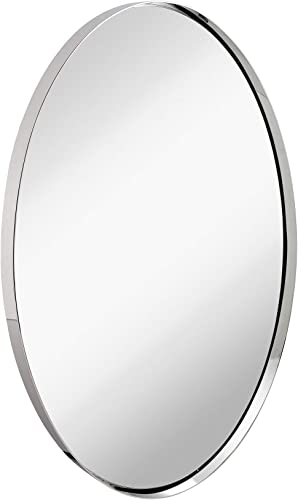 Hamilton Hills Contemporary Polished Metal Wall Mirror Oval Polished Silver Framed Rounded Deep Set Design Mirrored Hangs Horizontal or Vertical 24 x 36