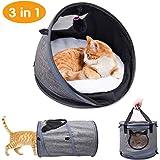 ペットキャリー 猫ベッド 猫トンネル ペットハウス3IN1多機能 折りたたみ可 携帯しやすい 通気性抜群 小動物用 旅行 通院 アウトドア お出かけバック (3IN1多機能猫ベッド)