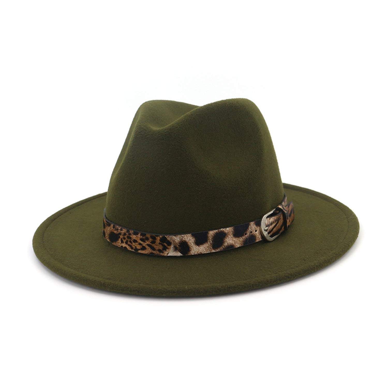 335daba1c8d Unisex Leopard Jazz Fedora Hat Men Women Plain Wool Felt Hats Brim Panama Trilby  Leather Buckle Decorated Army Green at Amazon Women's Clothing store:
