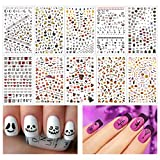 #6: Madholly 1200+ Pieces 3D Design Self Adhesive Halloween Nail Art Stickers Decals Tattoo Manicure Decoration for Fingernails Toenails Nail Tips