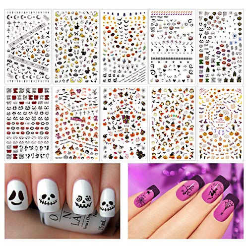 Madholly 1200+ Pieces 3D Design Self Adhesive Halloween Nail Art Stickers Decals Tattoo Manicure Decoration for Fingernails Toenails Nail Tips ()