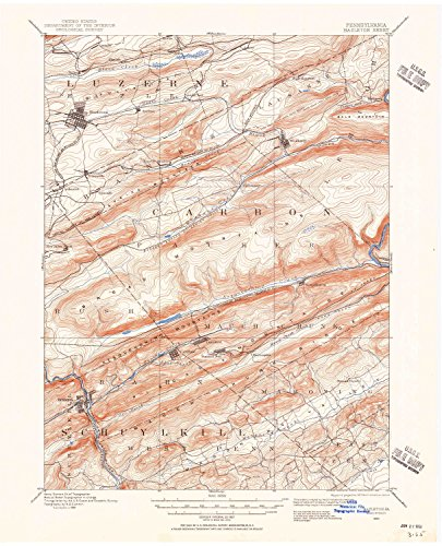 Hazleton PA topo map, 1:62500 scale, 15 X 15 Minute, Historical, 1889, updated 1956, 21 x 17 IN - - Hills Pa South Village