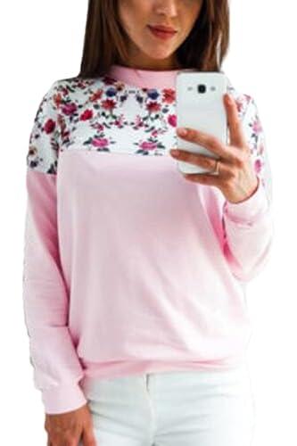 Las Mujeres De Manga Larga Estampado Floral Patchwork Scoop Cuello Blusa T Shirt