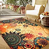 MeMoreCool Boho Area Rugs Retro Floral Home Living Mats Protective Decorative Carpets 1PC 52 X 75 Inch