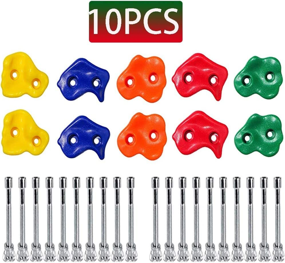 Hardware Kit Included ROYAL WIND 10Pcs Premuim Rock Climbing Holds for Outdoor Wooden Play Set